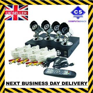 264 4 Channel 4 Camera 500GB DVR Home Business CCTV Security DIY