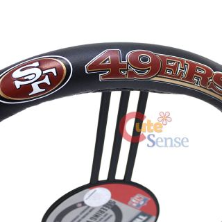 49ers Steering Wheel Cover Leather Car Auto Accessories 2