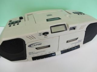 Califone Am FM CD Dual Cassette Boombox Radio Model 2395AV 02 Used