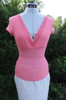 New Candies Pink Lace Knit Top Sz s Beautiful Feminine Ruffle