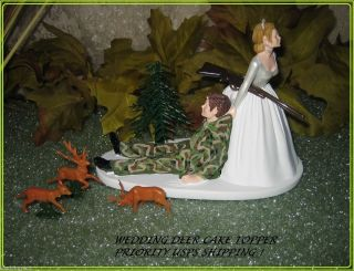 Funny Wedding Buck Doe Deer Camo Hunter Hunting Cake Topper