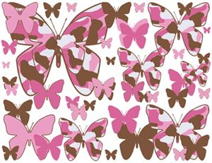 Pink Brown Camo Butterfly Wall Border Stickers Decals