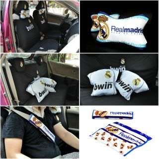 Car Auto Seat and Headrest Covers Pads Real Madrid New