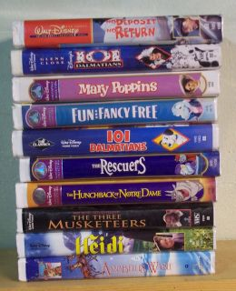 10 dif WALT DISNEY Video White Clamshell Cases VHS Tapes Poppins 101
