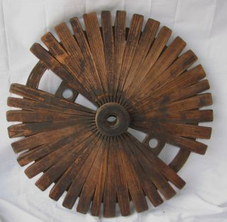 Antique Folk Art Wooden Fly Wheel Industrial Gear