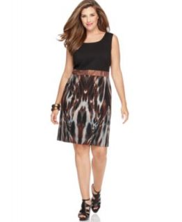 Calvin Klein New Brown Print Sleeveless Scoop Neck Wear to Work Dress