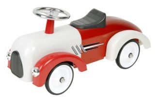 NEW CHILDS CLASSIC VINTAGE WHITE & RED RACE CAR RIDE ON PUSH ALONG TOY