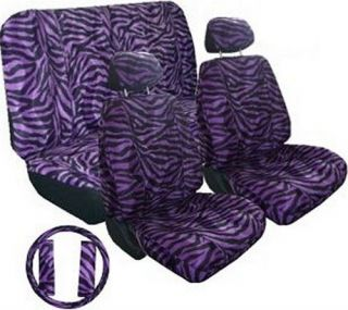Purple Black Zebra Car Truck Seat Covers Accessories