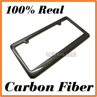 REAL 100% CARBON FIBER LICENSE PLATE FRAME TAG COVER ORIGINAL 3K TWILL