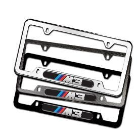 BMW OEM M3 LOGO LICENSE PLATE FRAME  FAUX CARBON FIBER (NEW WITH
