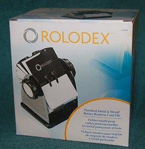 New Rolodex Card File Punched Metal Wood Rotary Business 2 5 8 x 4 in