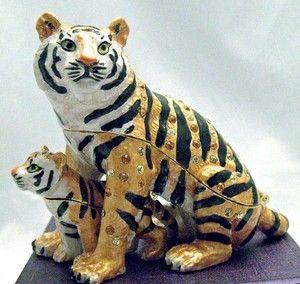 Tiger Cub Enamel Trinket Box Hand Painted Swarovski Crystals RUCINNI