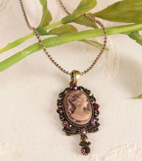 VICTORIAN VINTAGE ST ESTATE ANTIQUE GOLD GP CAMEO PENDANT NECKLACE u1