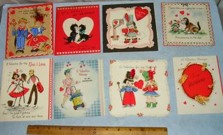 25 Vintage Valentine Day Greeting Card Lot 1920s 1960S