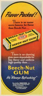 1949 Ad Beech Nut Gum Candy Coated Chewing Peppermint Spearmint Pepsin