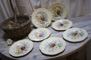 Vintage Floral Bouquet Woods English Dinner Plates