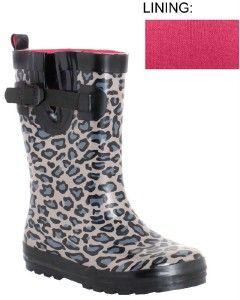 NIB Capelli New York Leopard Print Short Rubber Rain/Snow Boots Womens
