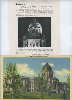 Montanas State Capitol Building Brochure Giant Postcard 1950S
