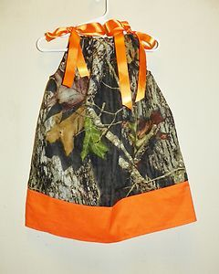 Camo Camouflage Orange Pillowcase Birthday Dress Toddler Infant Girl