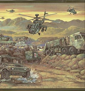 Wallpaper Border Army Trucks and Helicopters Wall Border Camo