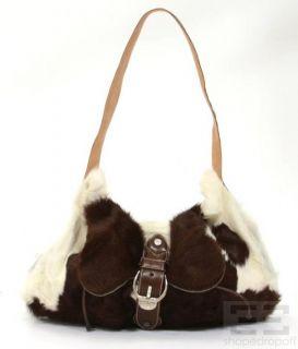 Carlos Falchi Brown & White Calf Hair & Leather Trim Shoulder Bag