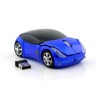 New USB Blue Car Wireless Mouse Mice 800DPI Optical USB Receive for PC