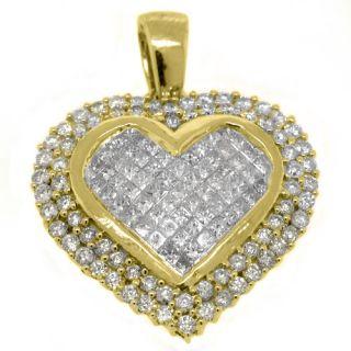 Carat Womens Diamond Heart Pendant Invisible Princess Square Cut