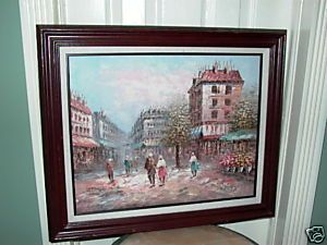 Caroline Burnett Paris Street Scene Oil Painting Listed