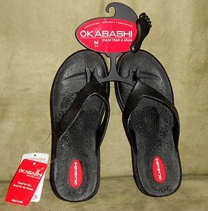 Womens Okabashi Black FlipFlop Sandals Size Small 5.5 6.5