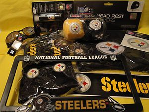 Pittsburgh Steelers Car Truck Accessories 9 Pc Decals Frame Head Rest