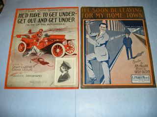 Pieces Vintage Large Format Sheet Music car train Christmas west