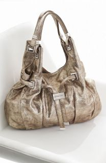 Michael Kors Carey Large Snake Embossed Shoulder Tote Bag Metallic
