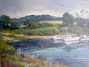 New England inlet Carl W Illig original painting boats Gruppe strisik