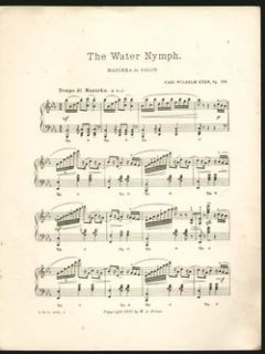 Water Nymph Carl Kern 1912 Piano Solo Mazurka Vintage Sheet Music