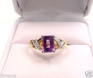 Natural Amethyst Emerald Cut Diamonds 10K Gold Ring