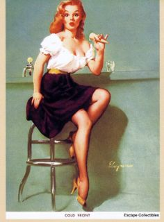 Elvgren Pin Up Girl Postcard Cold Front Ice Cream Soda Shop 1950s