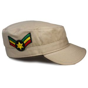 Sargent Stripes Tan Army Reggae Cap Hat Military L XL