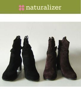 Naturalizer Carlyle Ladies Suede Ankle Boots Shoes Size 11W