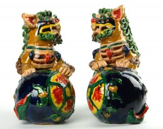 Ceramic Foo Dogs Fu Lion Set Pair Chinese Foshan 10