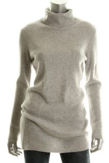 Design History New Gray Cashmere Ribbed Turtleneck Tunic Sweater L