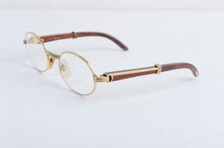Cartier Eye Glasses Wooden Gold Frame Vintage Paris