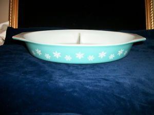 Pyrex Snowflake Casserole Dish Tiffany Blue Color