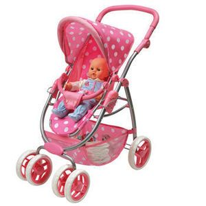 Six Wheel Doll Travel System Stroller and Carrier New
