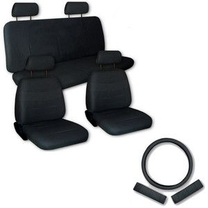 Faux PU Leather Truck Car Seat Covers 11 Pcs Set Superior All Black