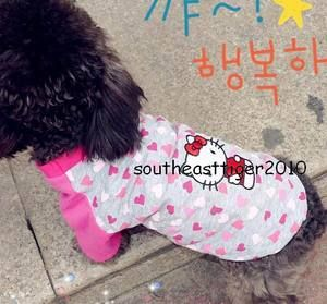 New Gray Pet Dog Cat Clothes Multicolour Heart Dog Shirt Apparel Pet