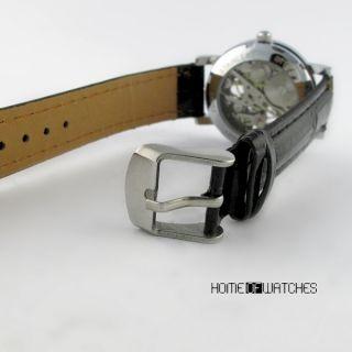 Case Black Strap Hand Winding Mechanical Men Wrist Watch