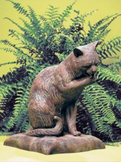 yard resin brick red cat licking paw lawn garden art statue