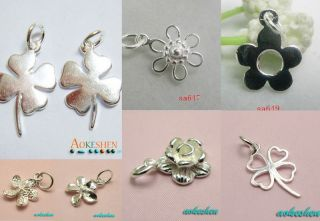 MULTI FLOWERS 925 STERLING SILVER PLATED CHARM PENDANTS BEADS FIT