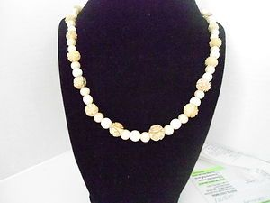 Vintage Carved Ivory Colored Beads 14 Necklace
