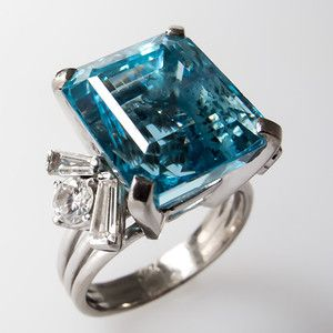 Carat Aquamarine Cocktail Ring w/ Diamond Accents Solid 14K White Gold
